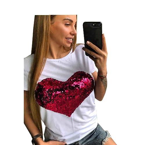 WanYang Corazón Lentejuelas De Impresión T shirt Manga Corta Blusa Casual Camiseta Para Mujer