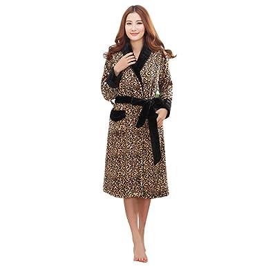 Aivtalk Damen Bademantel Herbst Winter Klassisch dick Nachtwäsche Leopard  Korallen Samt Morgenmantel weiches und super flauschig