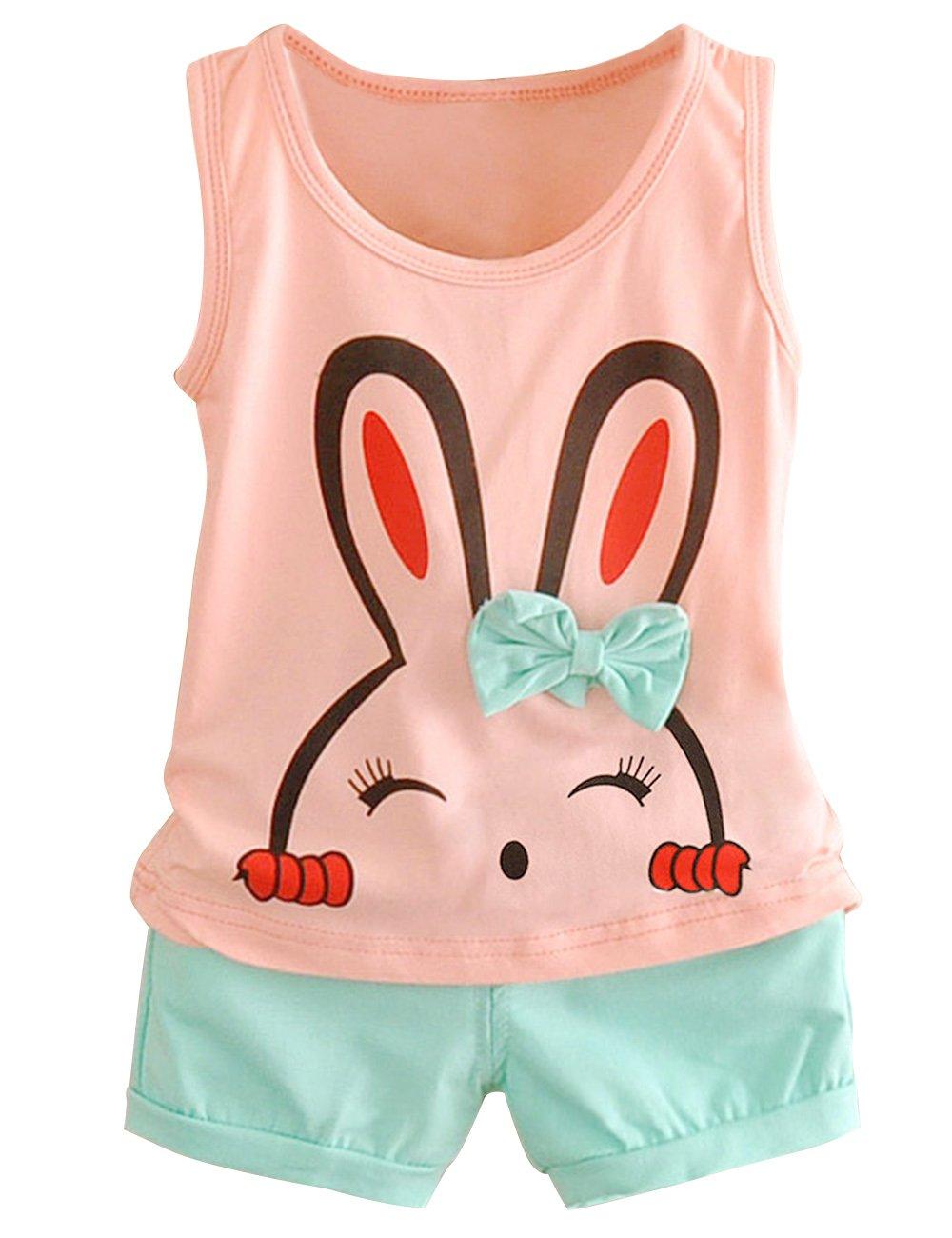 LaLaKid Baby Girls Rabbit Printed T-Shirt Shorts Set Outfits Pink 2-3Y