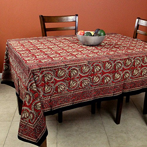 - Handmade 100% Cotton Hand Block Print Dabu Table Linen Floral Tablecloth Rectangular 60 x 90 inches Red