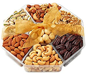 Holiday- Gift Baskets, Nuts Gift Basket - Food Gifts - Gourmet Nuts - 7-Sectional - Fruit and Nut Gift Baskets - Hula Delights