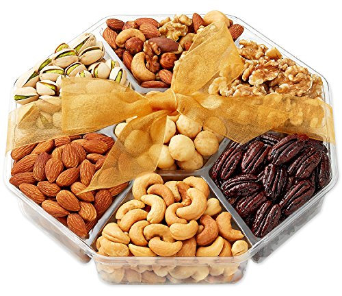 Gift Baskets, Nuts Gift Basket - Food Gifts - Gourmet Nuts - 7-Sectional - Fruit and Nut Gift Baskets - Hula Delights (Mixed Nuts Gift)