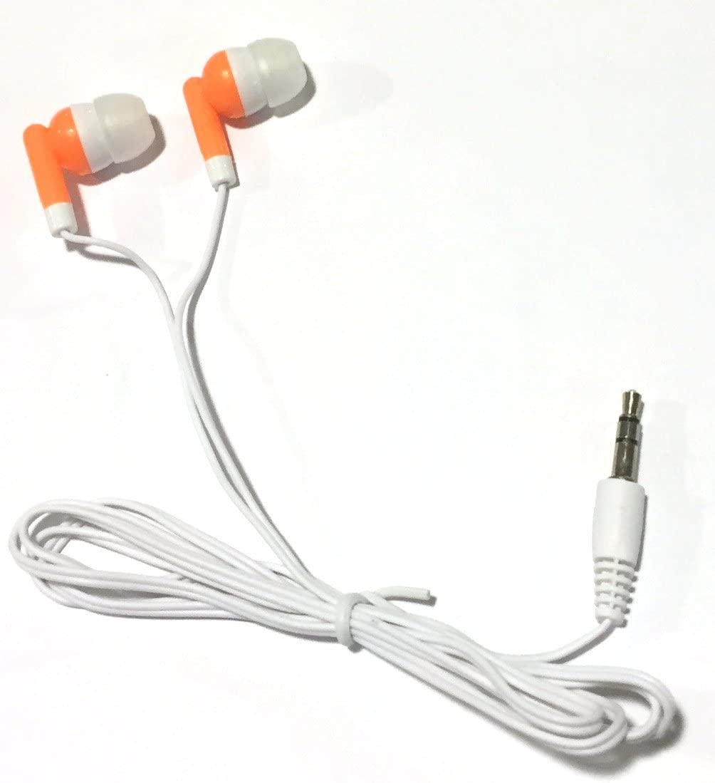 TFD Supplies Wholesale Bulk Earbuds Headphones 50 Pack for iPhone, Android, MP3 Player - Orange