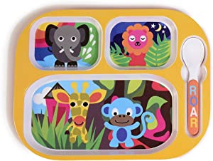 French Bull 4pc Toddler Kids Feeding Melamine Tableware Flatware BPA Free Dishwasher Safe, Durable Plate, Cup, bowl, Divided Tray Dinnerware Set, Jungle