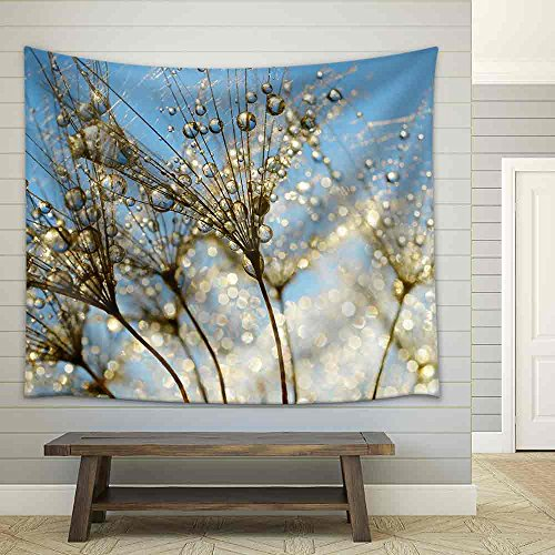 Dewy Dandelion Flower Close Up Fabric Wall Tapestry