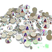 CRYSTAL AB (001 AB) 144 pieces 2058/2088 Crystal Flatbacks rhinestones nail art mixed with Sizes ss5, ss7, ss9, ss12, ss16, ss20, ss30 **FREE Shipping from Mychobos (Crystal-Wholesale)**