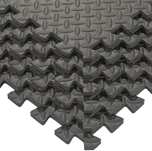 384 sq ft Trade Show EVA Foam Weight Room Garage Floor Mat w// Edgings Black