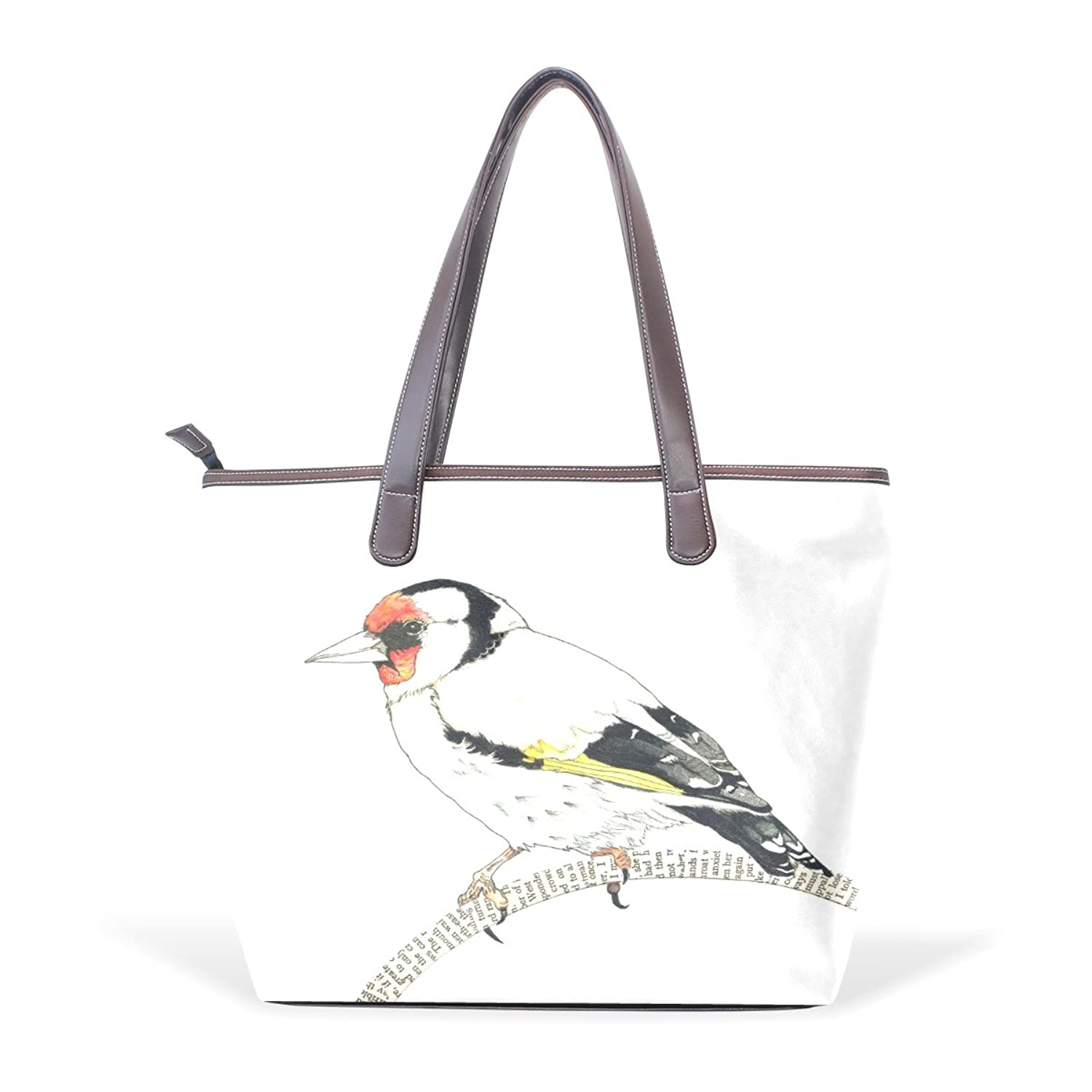 CCBHGY Women's Goldfinch pattern Leather Handbag Zipper Shoulder Bag Tote Bag