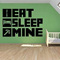 TIANSINIAO Eat Sleep My Gaming Poster Wall Sticker for Kid Room Decoration Mural Minecraft Vinyl House Sticker Bedroom…