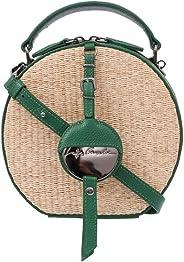 Bolsa Geométrica Com Couro Verde e Ráfia