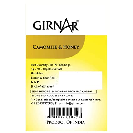 Girnar Camomile Infusion With Honey 10 Dip Bags
