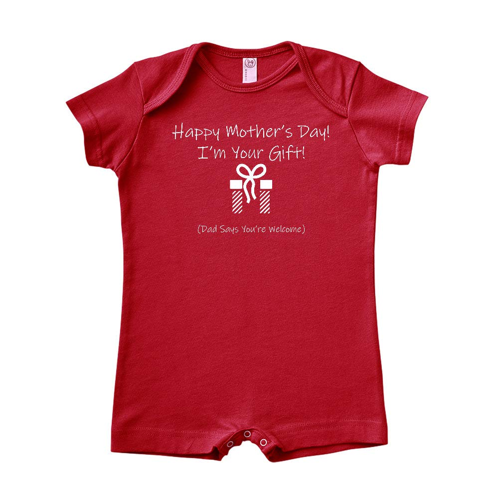 Baby Romper Happy Mothers Day Im Your Gift Dad Says Youre Welcome Striped Present