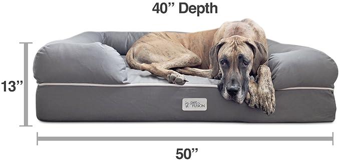 Cama de espuma viscoelástica para perros medianos y grandes, Gris (Jumbo Bed), 127 x 102 x 33 cm