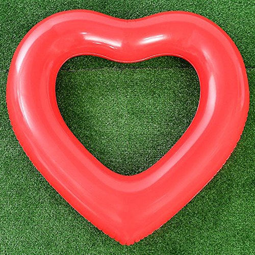 TRRAPLE Heart Shape Swimming Ring, Heart-Shaped Inflatable PVC Floating Ring, 1 Pcs Heart Shaped Swimming Pool Float Loungers Tube Water Fun Beach Party Toy for - Pvc Heart