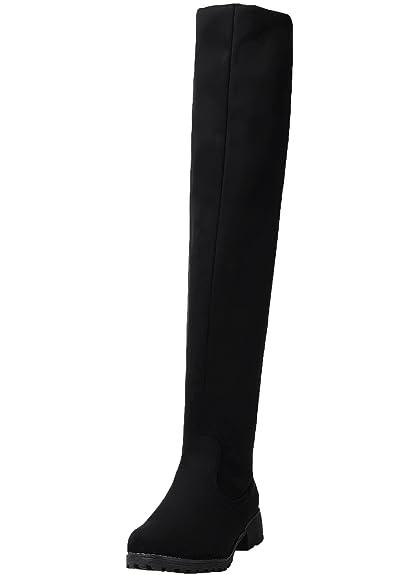 87cb649066ccb BIGTREE Mujer Botas largas Casual Planas Otoño Invierno Cómodo Sintética  Ante Cálidas Piel Rodilla Botas Altas De Negro 36 EU  Amazon.es  Zapatos y  ...