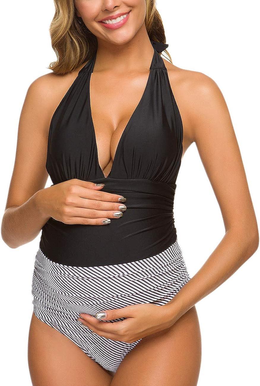 Maternity Swimsuits One Piece V-Neck Pregnancy Swimwear Halter Maternity Bikini