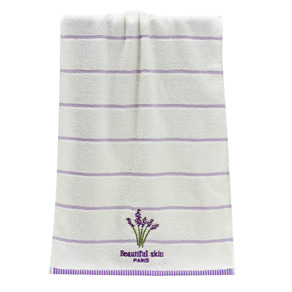 Leedford Cotton Bath Towel Set, Embroidery Lavender Aromatherapy Soft Bath Hand Face Towel (Yellow, 1 pc)