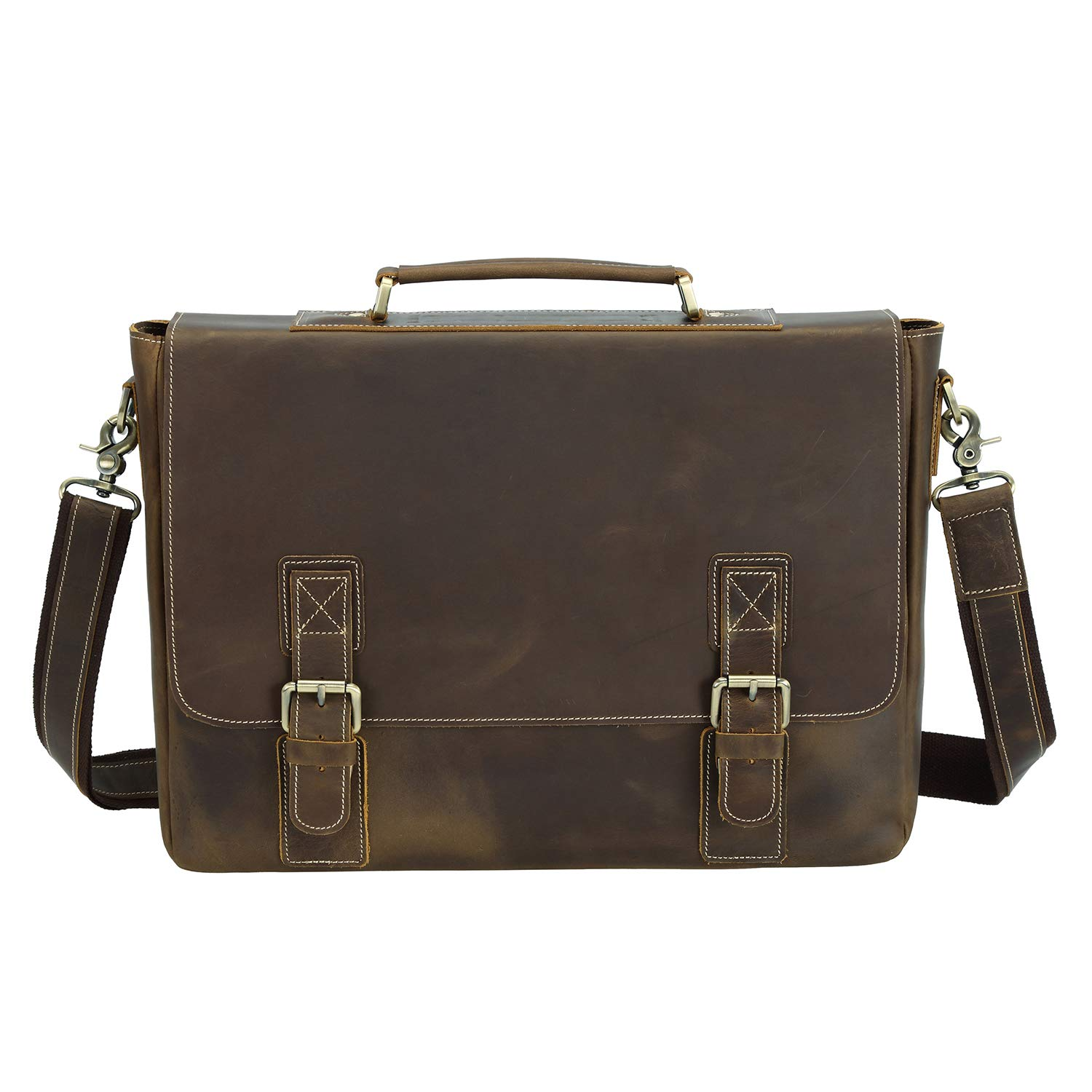 Texbo Men's 16 Inch Full Grain Cowhide Leather Laptop Briefcase Messenger Bag Tote by Texbo (Image #2)