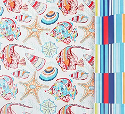 """Seaside Stripes Reversible Gift Wrap Roll with Gift Tags - 24"""" x 18'"""