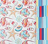 Seaside Stripes Reversible Gift Wrap Roll with Gift Tags - 24'' x 18'
