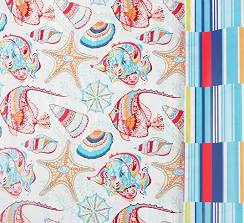 Seaside Stripes Reversible Gift Wrap Roll with Gift Tags - 24'' x 18' by Party Explosions