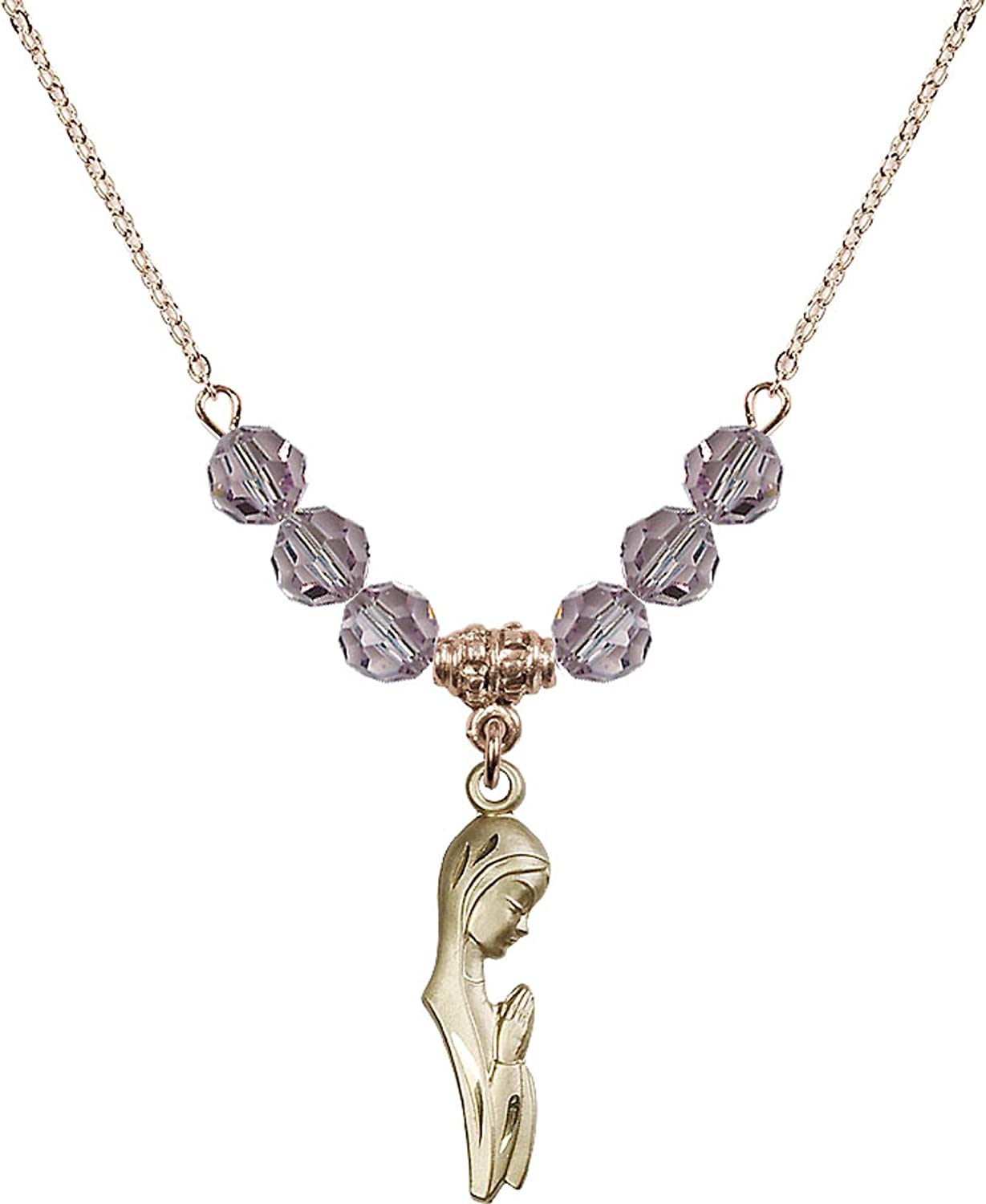 Bonyak Jewelry 18 Inch Hamilton Gold Plated Necklace w// 6mm Light Purple February Birth Month Stone Beads and Madonna Charm