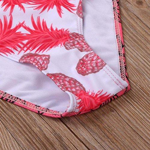 SHOBDW Mujer Atado Con Ccorrea Dos Piezas Hombro Traje De Baño Bikini Rojo