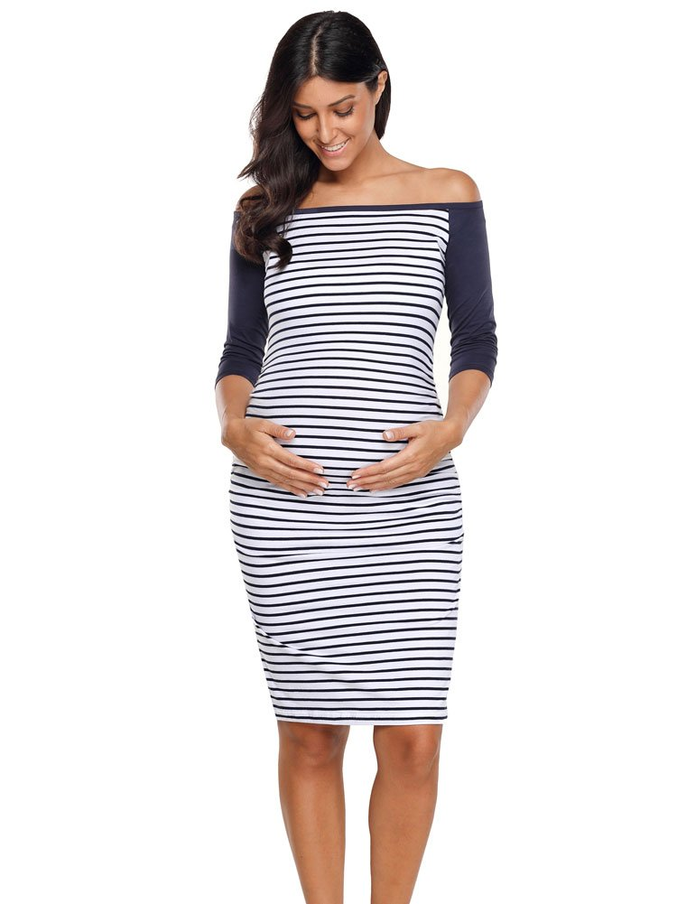 Kalayo Womens Off Shoulder Colorblock Maternity Bardot Bodycon Dress 3/4 Sleeve Ruched Sides Casual Pregnancy Clothes, Navy Stripe Colorblock, Large