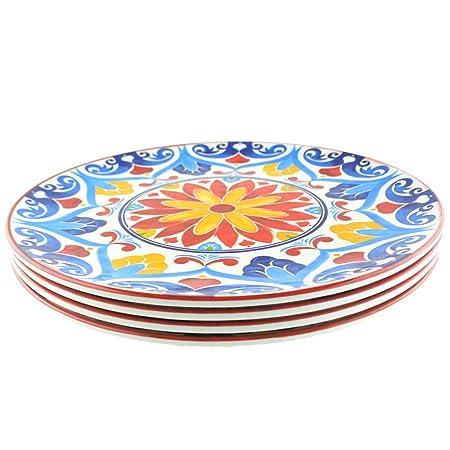 Juego de vajilla de melamina multicolor de Art Lacy: Amazon.es: Hogar