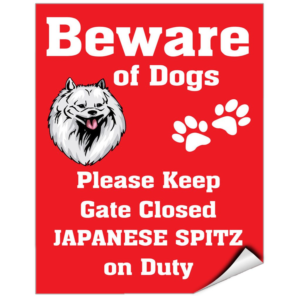 Beware Of Japanese Spitz Dog On Duty Vinyl LABEL DECAL STICKER 12 inches x 18 inches by Fastasticdeals