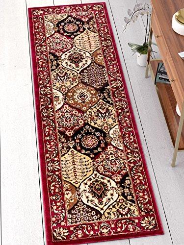 Dynasty Panel Red Multi Oriental Floral Geometric Modern Rug 3x10 ( 2'7