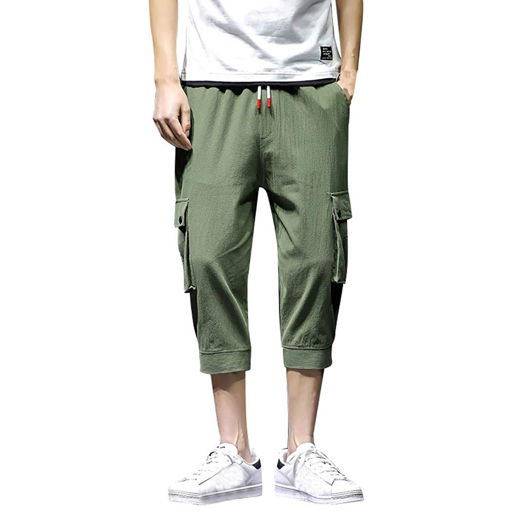 ANJUNIE Men's Beach Straight Leg Trunks Linen Leisure Pure Color Pants with Pockets Loose Calf-Length Pants(Army Green,L)