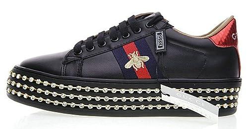 Gucci Ace Crystal Embellished 008243290 Black Blanco Cuero Zapatillas Mujer: Amazon.es: Zapatos y complementos