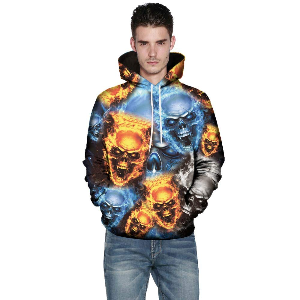 Basic Skull Pullover Casual Long Sleeve Hooded Sweatshirt Tops Blouse New 3D Mens Long Sleeve