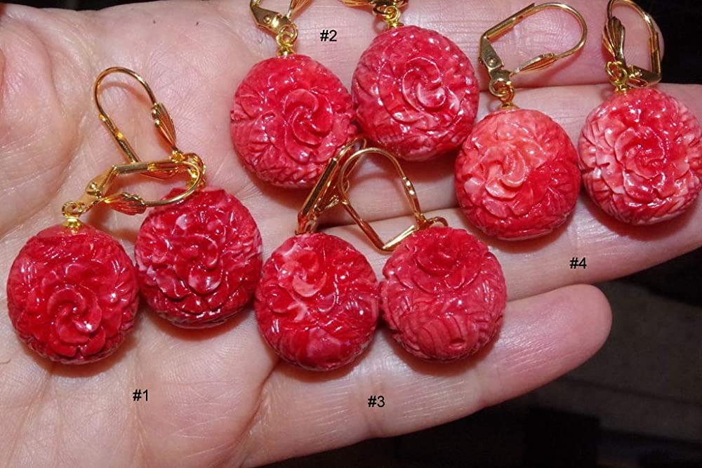 14K GF GORGEOUS SALMON ROUND CARVED FLOWER MOLDED CORAL LEVER BACK  EARRINGS
