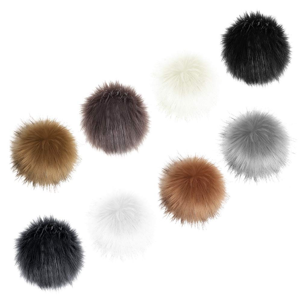 16pcs Faux Fur Pom Pom, Uspacific DIY 3.9''Pompom Balls for Hats Scarf Key Chain Shoes with Snap