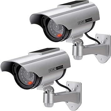 Opinión sobre Cámara Falsa Cámara de Vigilancia Falsa Simulada con Bala Solar Cámara Domo CCTV de Seguridad con Luz LED Intermitente para Exteriores Interiores Hogar Negocios (2X Paquete)