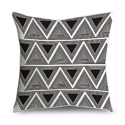 Fabricmcc Répéter Carreaux élégant et moderne avec triangles à rayures carré Couvre-lit décoratif Taie d'oreiller Housse de coussin 18x 18