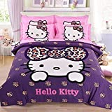 CASA 100% Cotton Brushed Kids bedding Hello Kitty Duvet Cover Set & Fitted Sheet,4 Piece,Queen