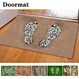 FOR U DESIGNS Stylish Rectangle Cute Footprints on Pebbles Funny Kitchen Bathroom Decorative Rug Carpet Doormat (green 2)