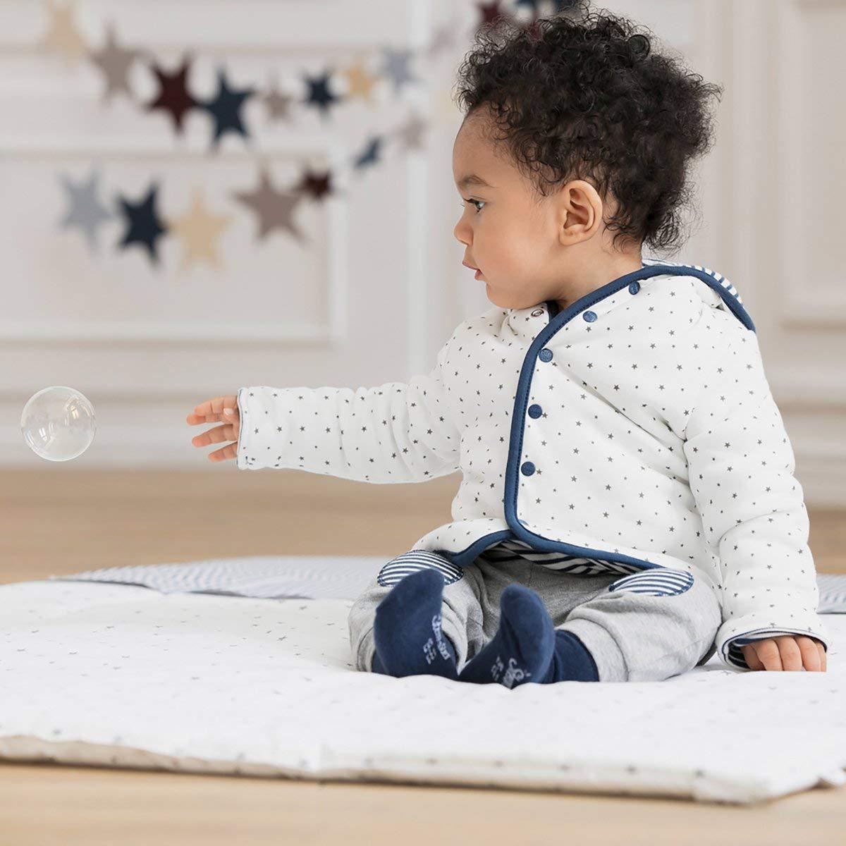 Farbe: wei/ß blau Bornino Wendejacke//Outdoor-Jacke Babykleidung f/ür M/ädchen-Jungen Druckknopfleiste