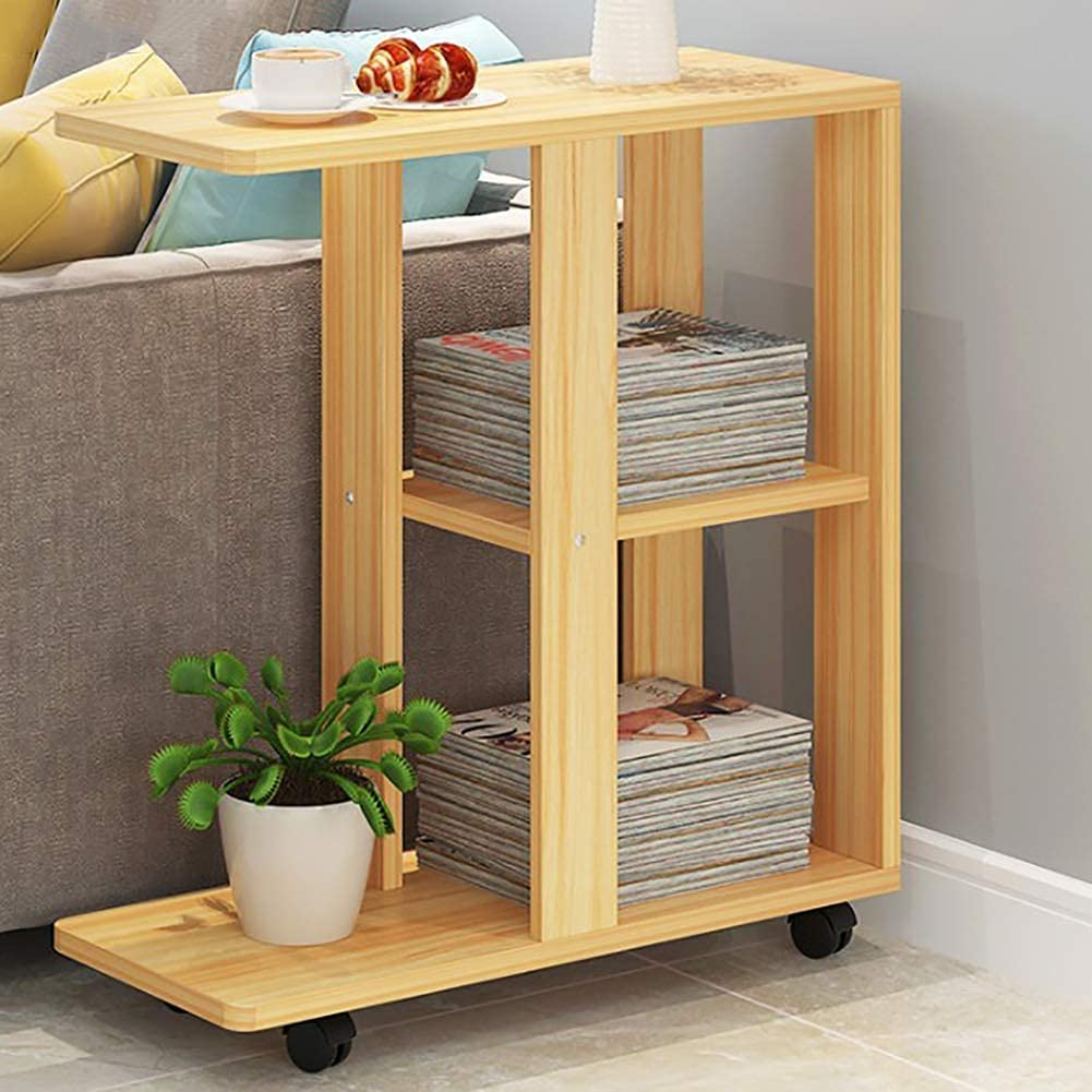 XCY Storage Rack Side Snack Table with Swivel Sofa Bar Trolley with Wooden Service 3 Tier Kitchen Trolley Cart Trolley with Wheels Bedside Coffee Table,B