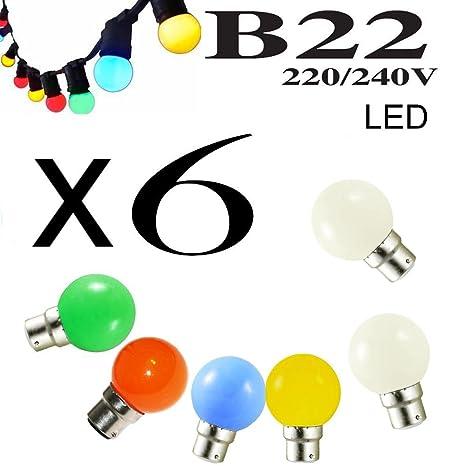 Lote de 6 bombillas LED B22 1 W rojo, azul, verde, amarillo y