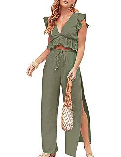 dd00151c3a FANCYINN Womens 2 Pieces Outfits Deep V Neck Crop Top Side Slit Drawstring  Wide Leg Pants