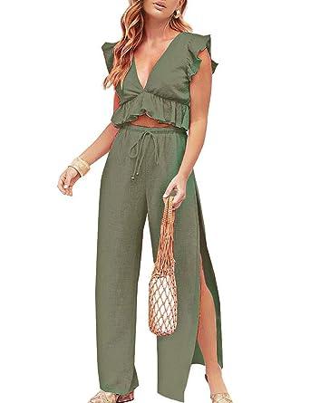 525cdc6f6f Amazon.com: FANCYINN Womens 2 Pieces Outfits Deep V Neck Crop Top Side Slit  Drawstring Wide Leg Pants Set Jumpsuits: Clothing
