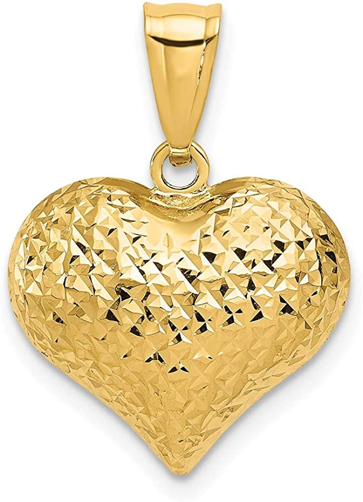 14k Yellow Gold Textured 3 D Heart Pendant Charm Necklace Love Puffed...