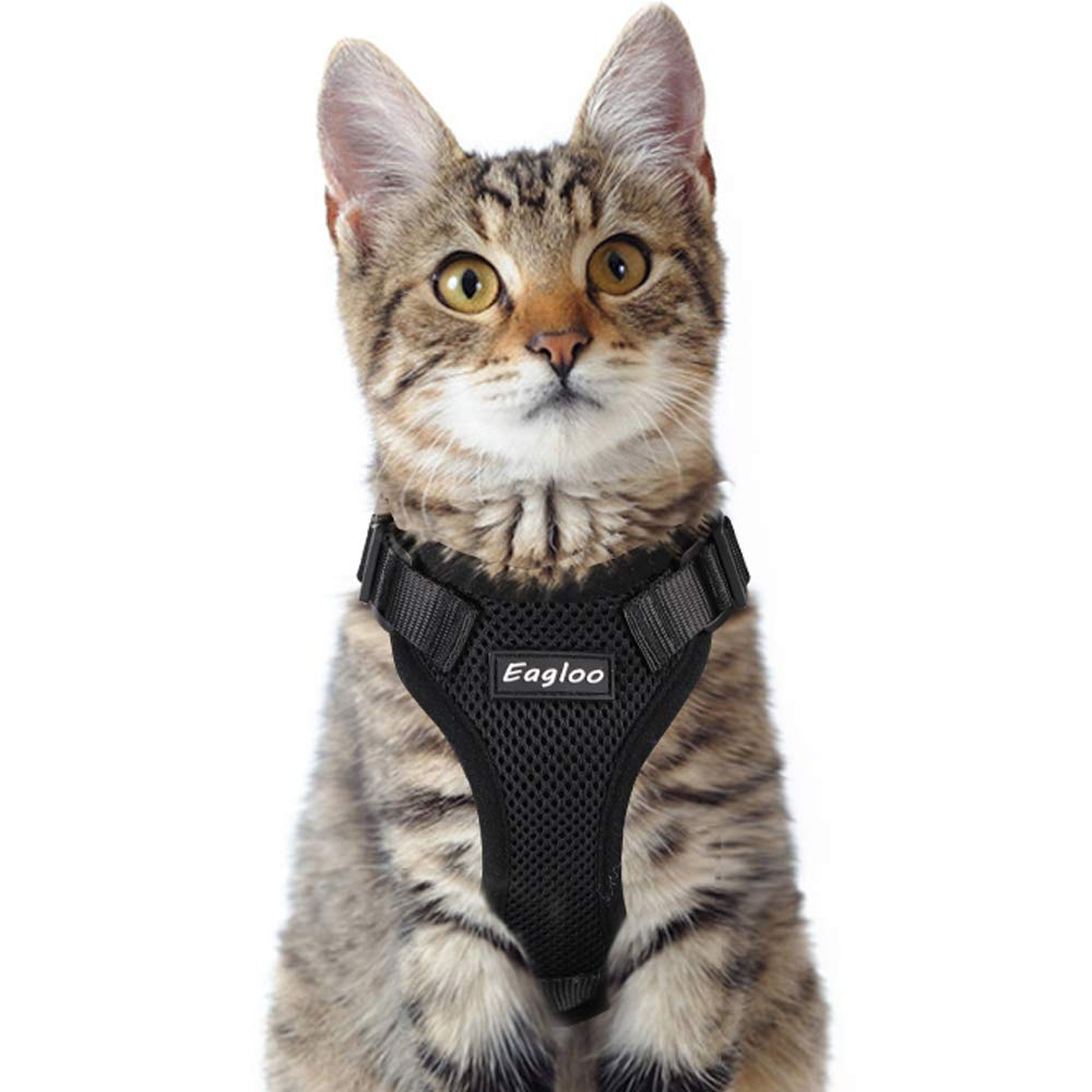 Eagloo Cat Harness Escape Proof Small Cat and Dog Harness Soft Mesh Harness Adjustable Cat Vest Harness with Reflective Strap Metal Clip Cat Walking Jacket Comfort Fit for Kitten Puppy Black X-Small by Eagloo