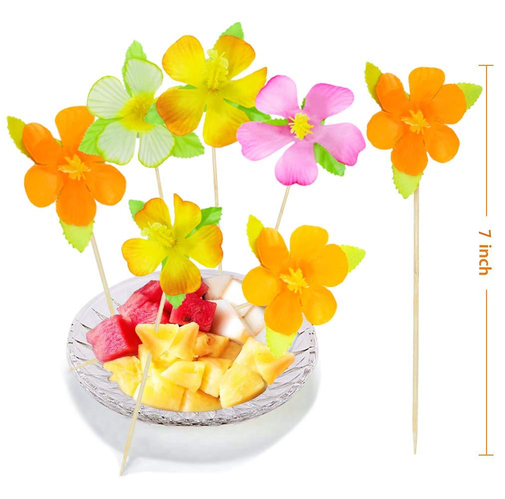 BOSHENG Lot of 144 Cute Flower Snack Cocktail Food Picks Appetizer Bamboo Sticks by BOSHENG