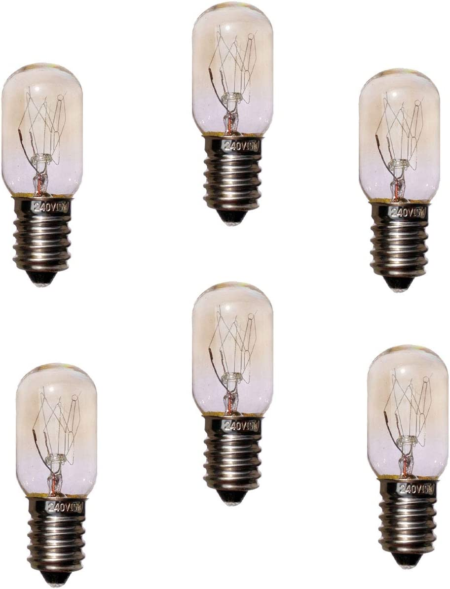 JINYU Pack 6 unidades bombillas nocturna para Lampara de Sal del Himalaya,de rosca SES casquillo E14 chapadas en níquel,alta temperatura de horno pan microondas 300 grados bombilla T20 15W,220 V,230