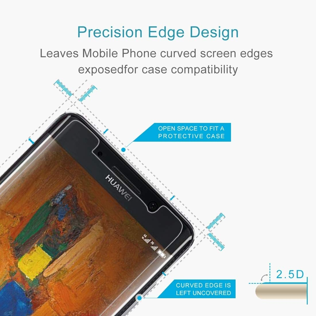 JUUANFDFINGD Cell Phones Screen Protectors 100 PCS for Huawei Mate 9 Pro 0.26mm 9H Surface Hardness 2.5D Explosion-Proof Tempered Glass Non-Full Screen Film
